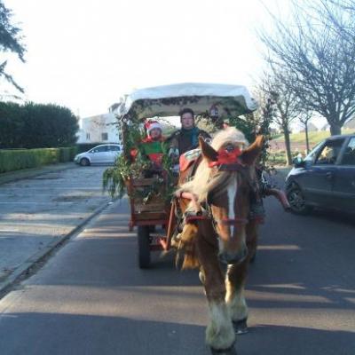 Pére Noël promené par un cob Normand avec un chariot western bâché.