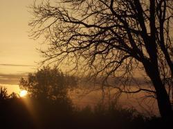 Vue  du camping sur le coucher de soleil