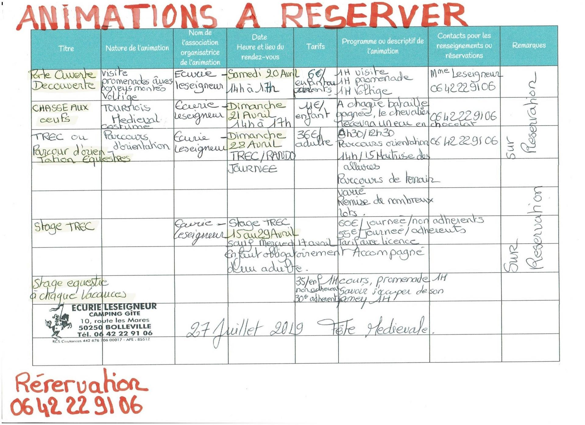 Animation a reserver