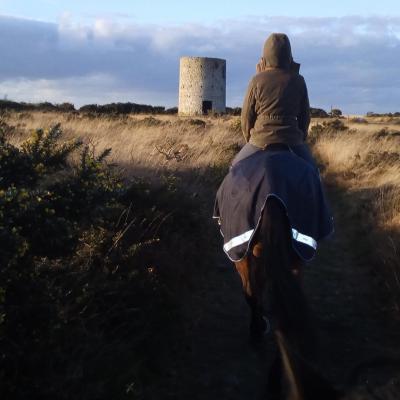 vue sur la ruine du moulin hiver